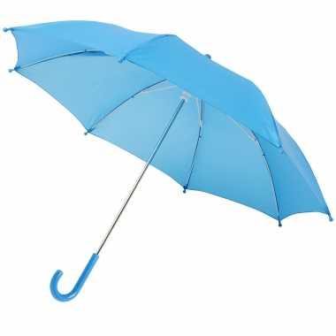 Blauwe storm paraplu kinderen doorsnede stormproof