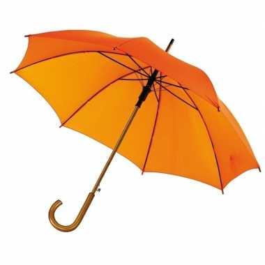 Oranje paraplu gebogen houten handvat, houten steel metalen frame