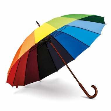 Paraplu gekleurd houten handvat