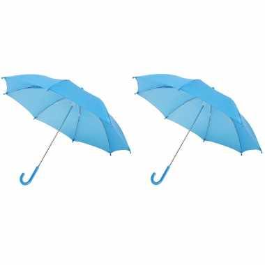 Set blauwe storm paraplus kinderen doorsnede stormproof