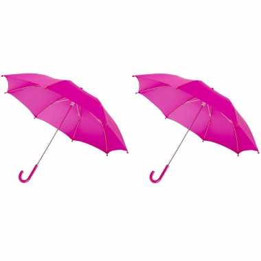 Set fuchsia roze storm paraplus kinderen doorsnede stormproof