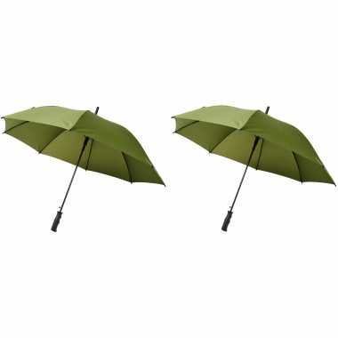 Set groene grote storm paraplus doorsnede stormproof