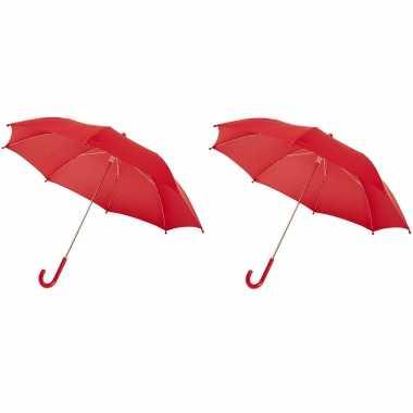 Set rode storm paraplus kinderen doorsnede stormproof