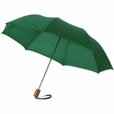 Set stuks compacte paraplu groen