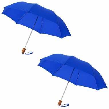 Set stuks compacte paraplus blauw