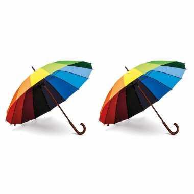 Set stuks paraplu gekleurd houten handvat