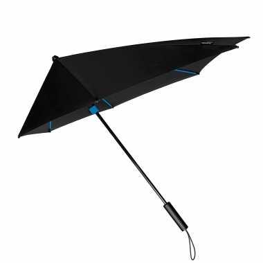 Windproof storm paraplu zwart/blauw