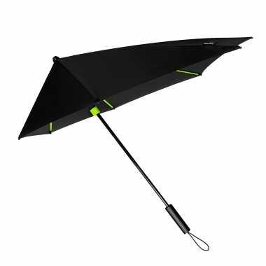 Windproof storm paraplu zwart/lime groen