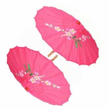 X stuks chinese deco paraplu fuchsia roze