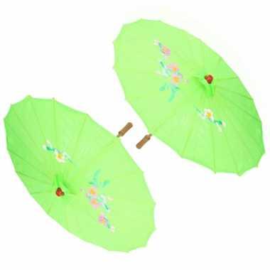 X stuks chinese deco paraplu groen