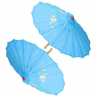 X stuks chinese deco paraplu lichtblauw