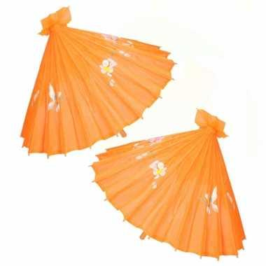 X stuks chinese deco paraplu oranje