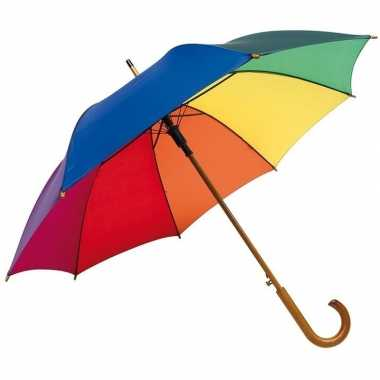 X stuks grote luxe paraplu regenboog