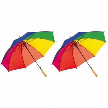 X stuks grote paraplu regenboog