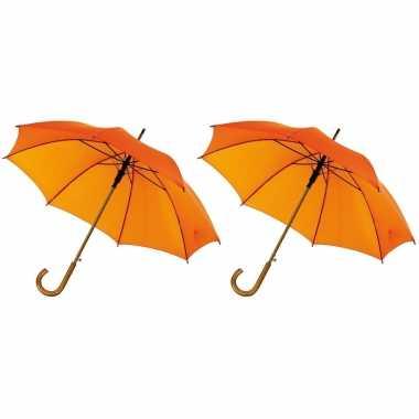 X stuks oranje paraplu gebogen houten handvat, houten steel metalen frame